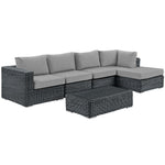 Summon 5 Piece Outdoor Patio Sunbrella® Sectional Set