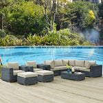 Summon 10 Piece Outdoor Patio Sunbrella® Sectional Set