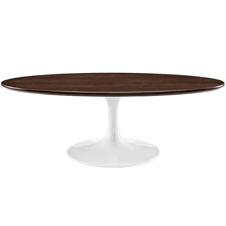 "Lippa 48"" Oval-Shaped Walnut Coffee Table"