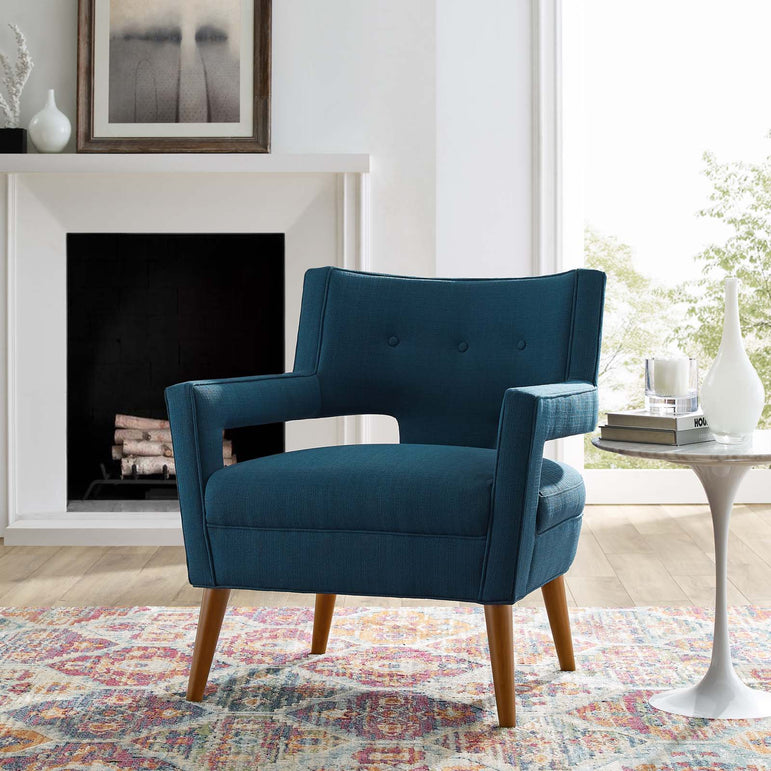 Sheer Upholstered Fabric Armchair
