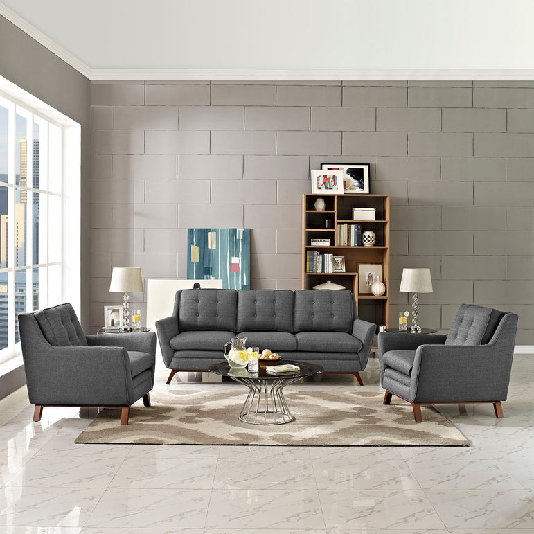 Beguile 3 Piece Upholstered Fabric Living Room Set