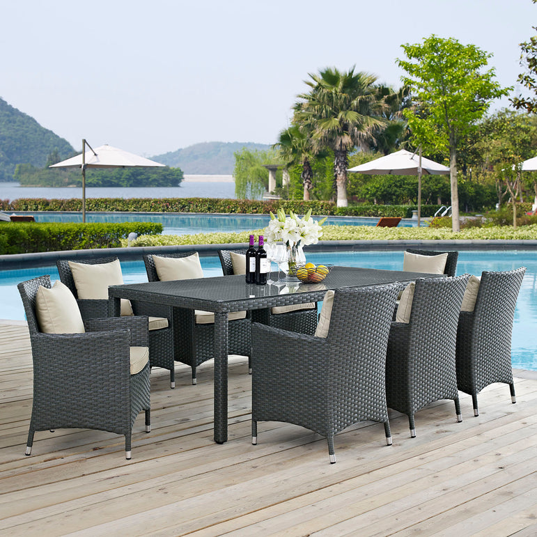 Sojourn 9 Piece Outdoor Patio Sunbrella® Dining Set