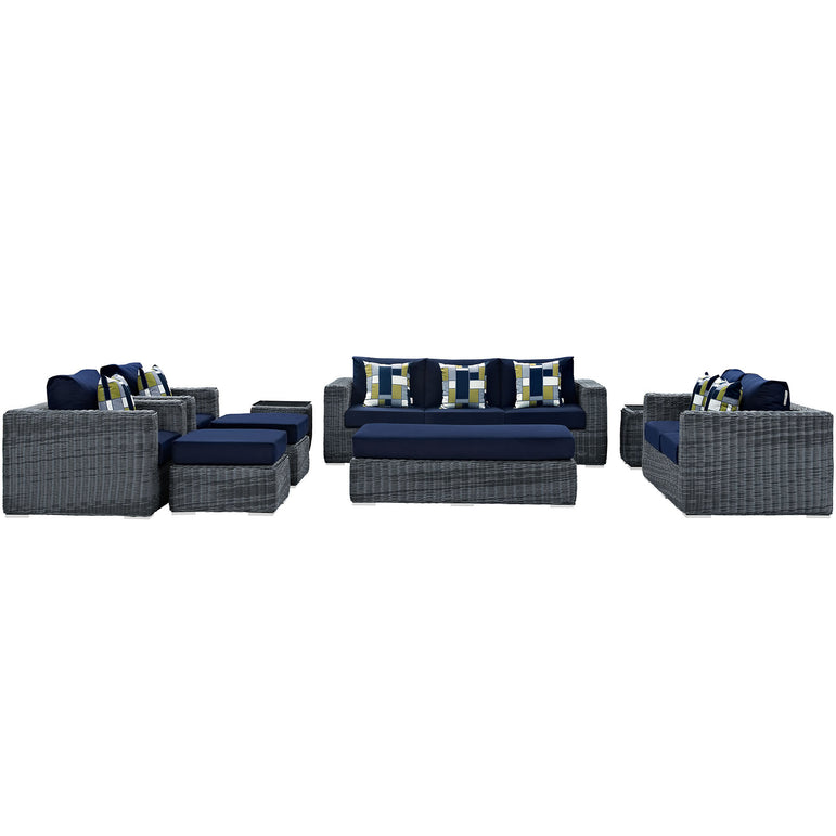 Summon 9 Piece Outdoor Patio Sunbrella® Sectional Set