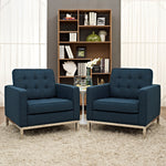 Loft Armchairs Upholstered Fabric Set of 2