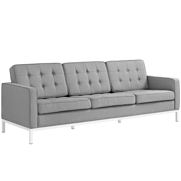 Loft 3 Piece Upholstered Fabric Sofa Loveseat and Armchair Set