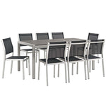 Shore 9 Piece Outdoor Patio Aluminum Dining Set
