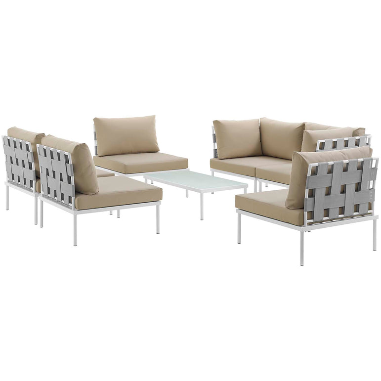 Harmony 7 Piece Outdoor Patio Aluminum Sectional Sofa Set