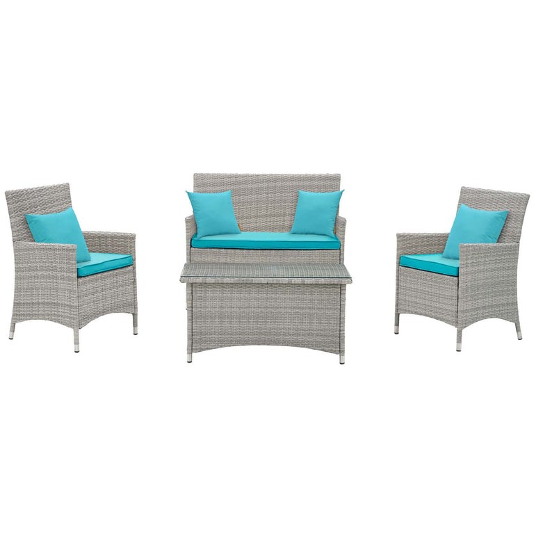Bridge 4 Piece Outdoor Patio Patio Conversation Set with Pillow Set
