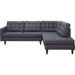 Empress 2 Piece Upholstered Fabric Right Facing Bumper Sectional