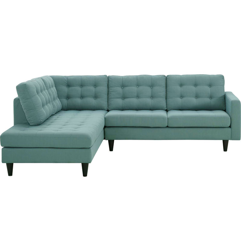 Empress 2 Piece Upholstered Fabric Left Facing Bumper Sectional