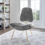 Ponder Upholstered Sheepskin Fur Lounge Chair