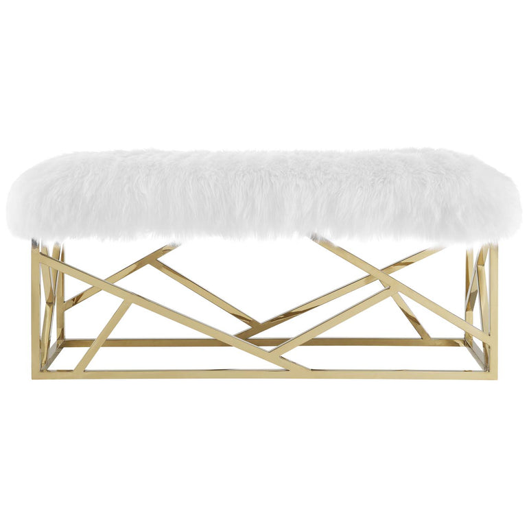 Intersperse Sheepskin Bench