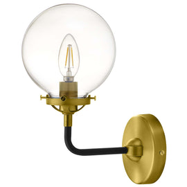 Reckon Amber Glass and Brass Wall Sconce Light