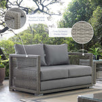 Aura Outdoor Patio Wicker Rattan Loveseat