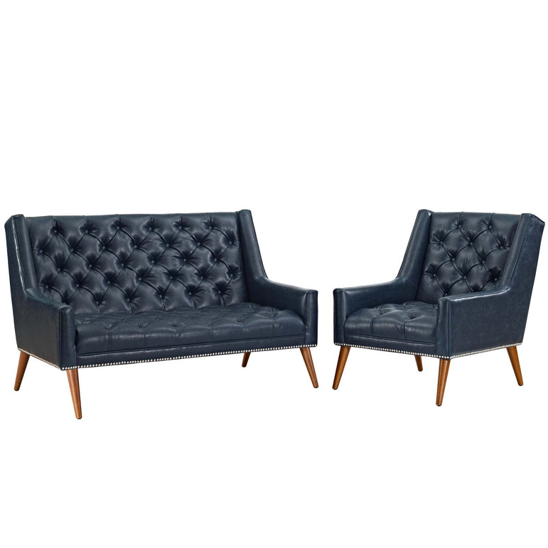 Peruse Living Room Set Faux Leather Set of 2