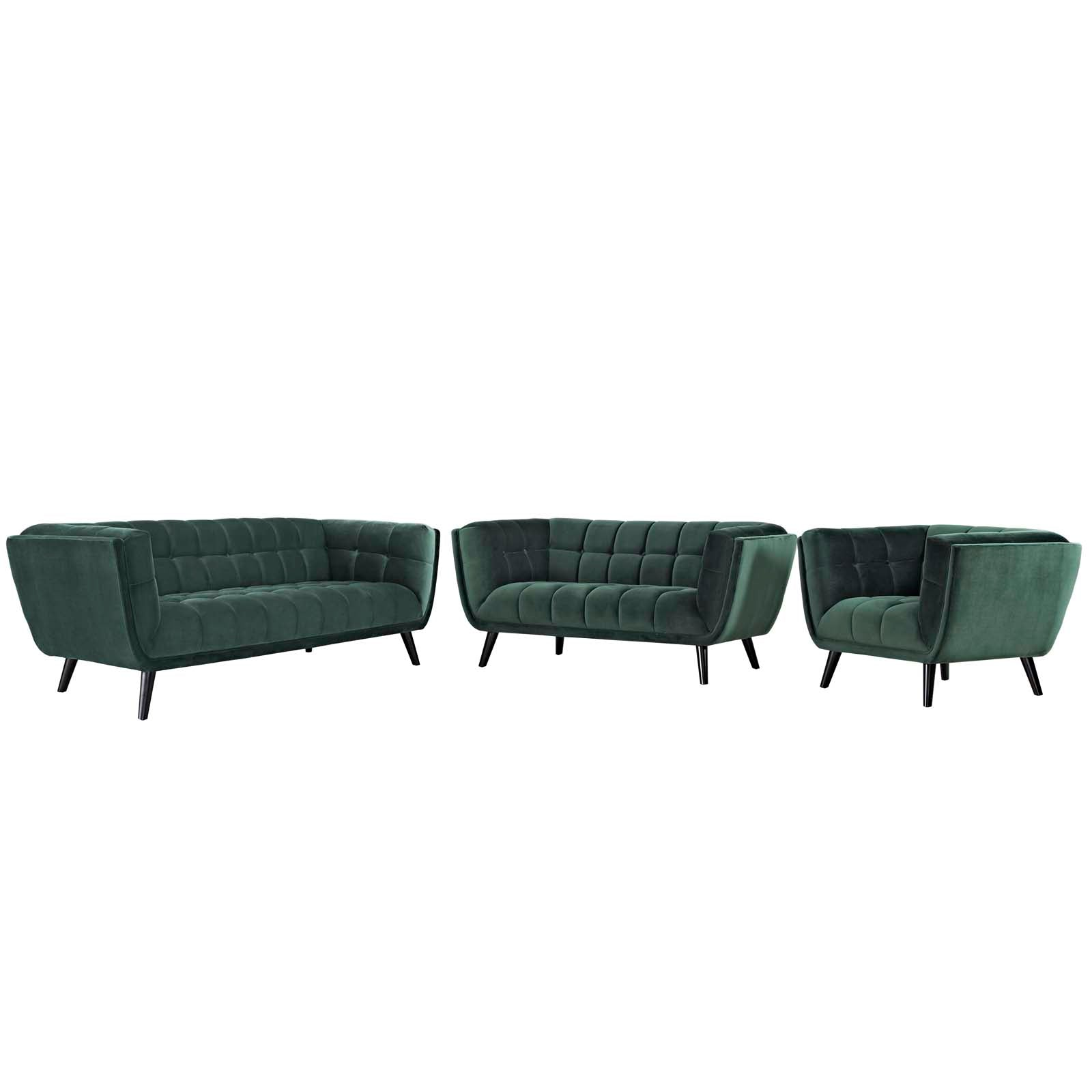 Bestow 3 Piece Performance Velvet Sofa Loveseat and Armchair Set