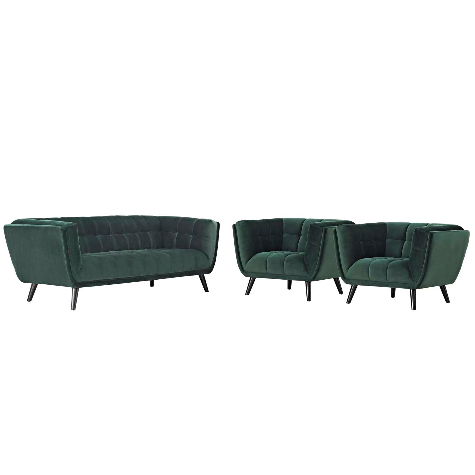 Bestow 3 Piece Performance Velvet Sofa and Armchair Set