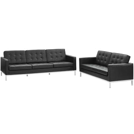 Loft 2 Piece Leather Sofa and Loveseat Set