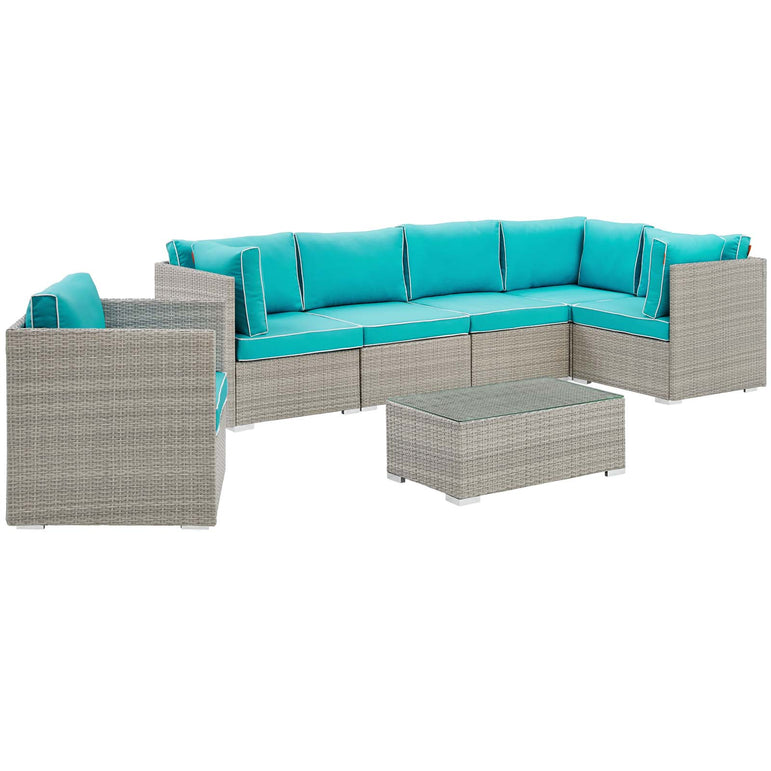 Repose 7 Piece Outdoor Patio Sectional Set