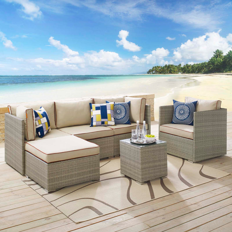 Repose 6 Piece Outdoor Patio Sectional Set