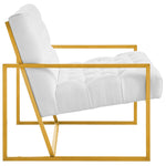 Bequest Gold Stainless Steel Upholstered Fabric Accent Chair