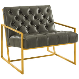 Bequest Antique Gold Stainless Steel Faux Leather Accent Chair