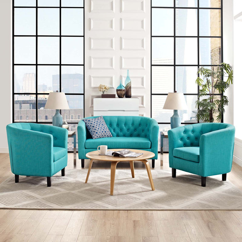 Prospect 3 Piece Upholstered Fabric Loveseat and Armchair Set