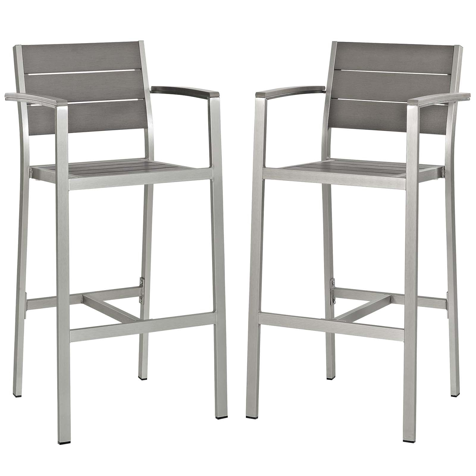 Shore Bar Stool Outdoor Patio Aluminum Set of 2
