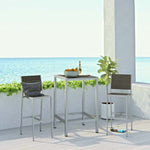 Shore 3 Piece Outdoor Patio Aluminum Outdoor Pub Set