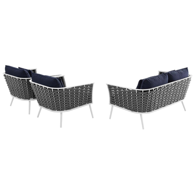 Stance 3 Piece Outdoor Patio Aluminum Sectional Sofa Set