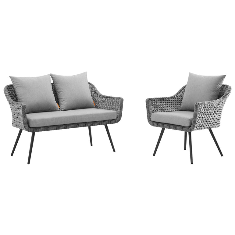Endeavor 2 Piece Outdoor Patio Wicker Rattan Sectional Sofa Set