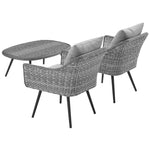 Endeavor 3 Piece Outdoor Patio Wicker Rattan Sectional Sofa Set