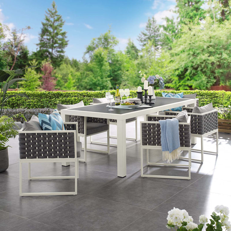 Stance 7 Piece Outdoor Patio Aluminum Dining Set