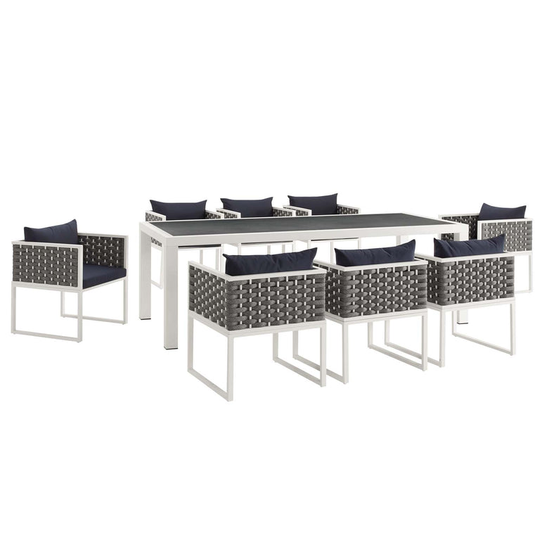 Stance 9 Piece Outdoor Patio Aluminum Dining Set