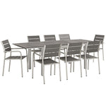 Shore 9 Piece Outdoor Patio Aluminum Outdoor Dining Set