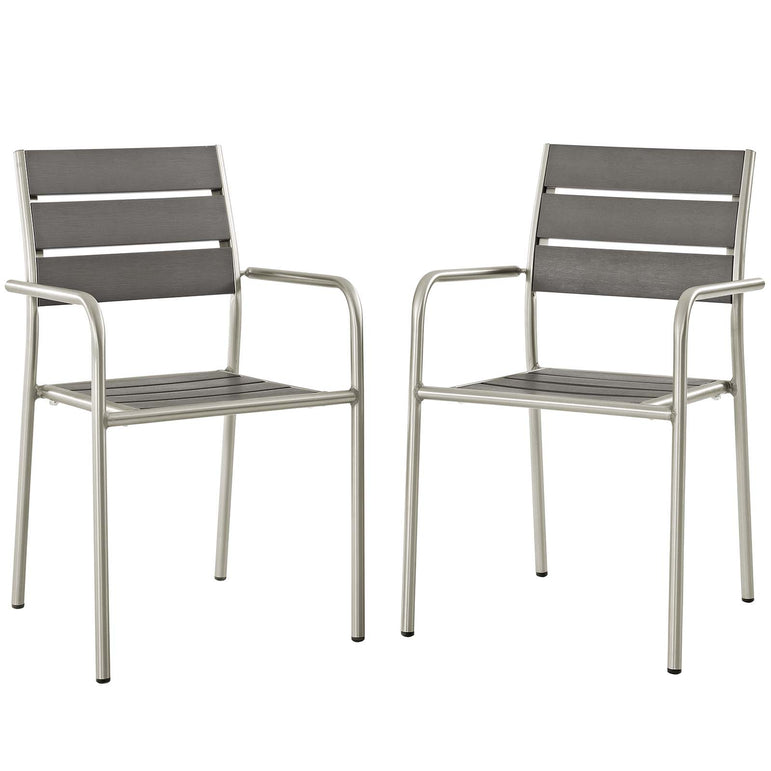 Shore Outdoor Patio Aluminum Dining Rounded Armchair Set of 2
