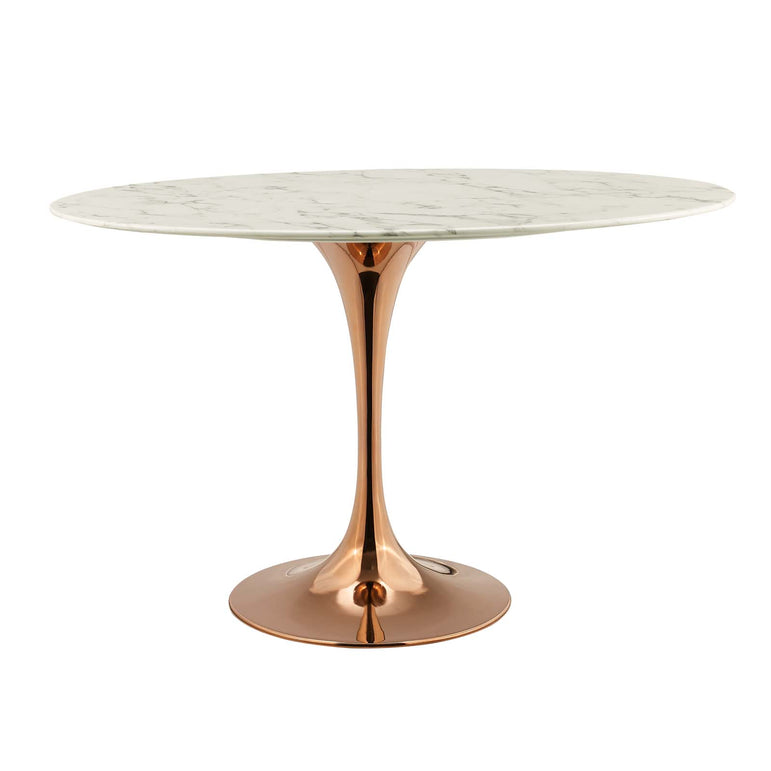 "Lippa 48"" Oval Artificial Marble Dining Table"