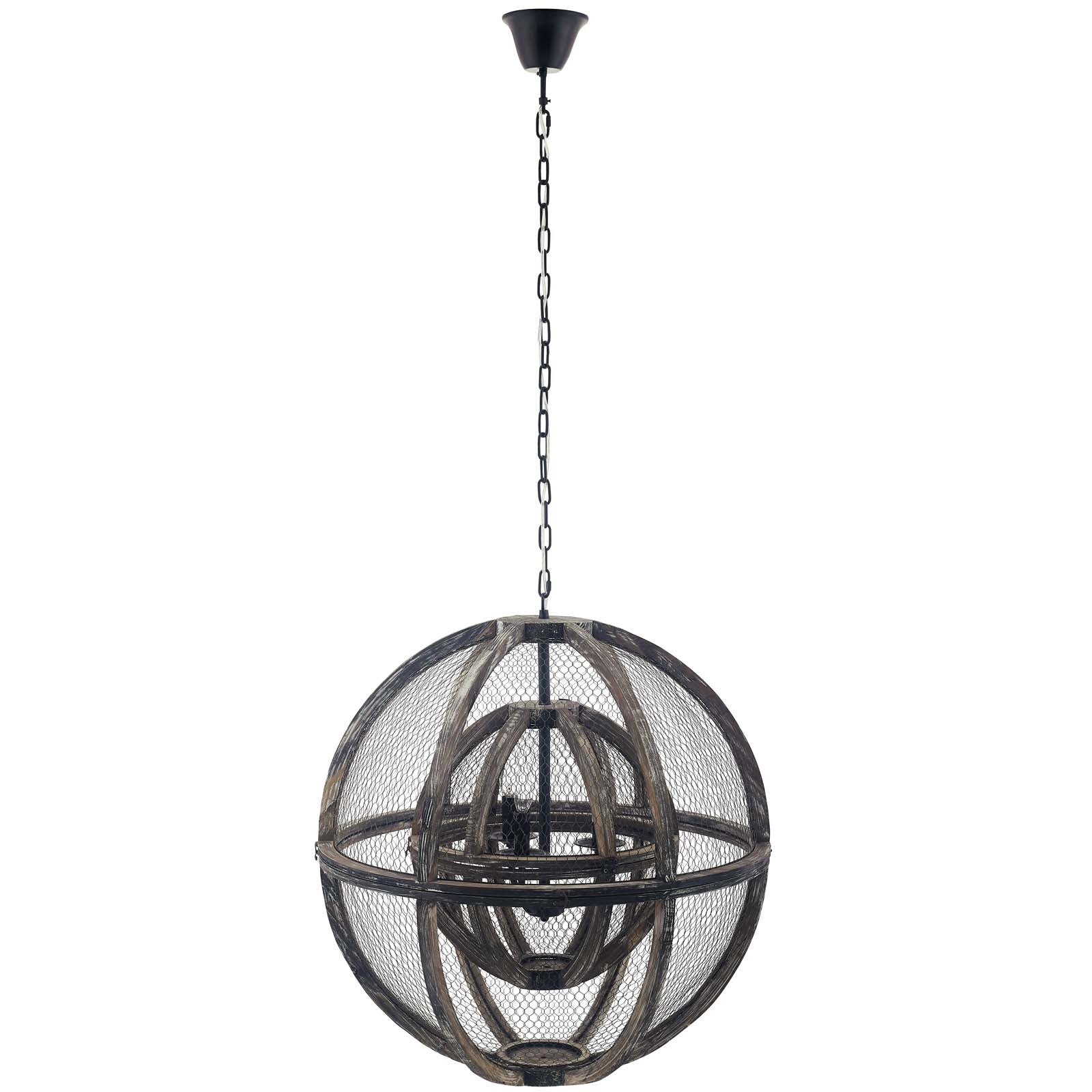 Gravitate Globe Rustic Oak Wood Pendant Light Chandelier