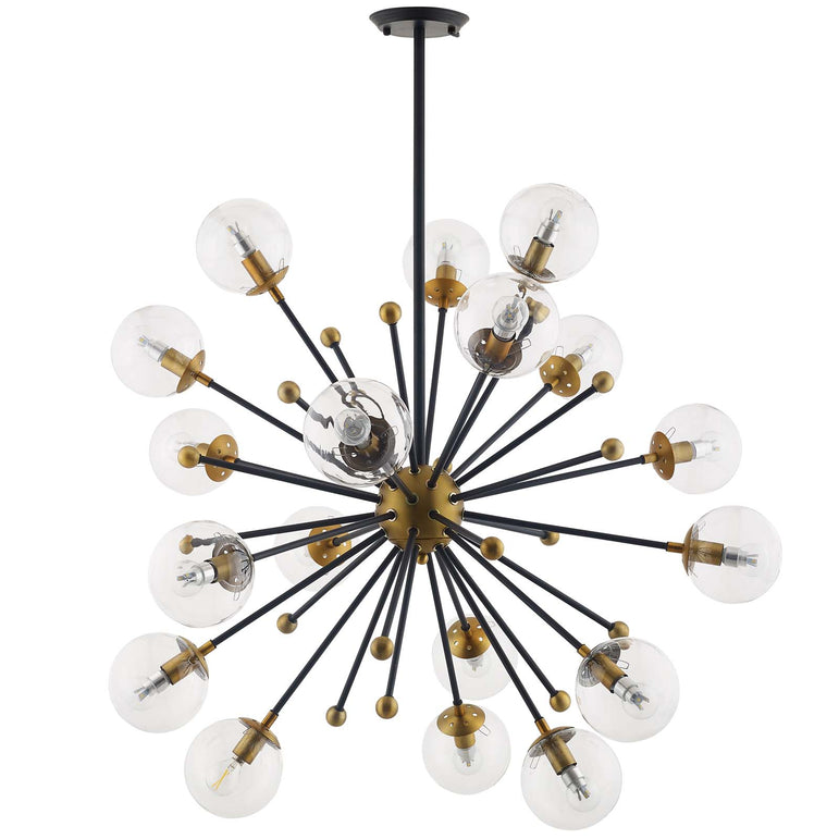 Constellation Clear Glass and Brass Ceiling Light Pendant Chandelier