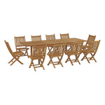 Marina 11 Piece Outdoor Patio Teak Outdoor Dining Set