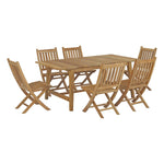 Marina 7 Piece Outdoor Patio Teak Outdoor Dining Set