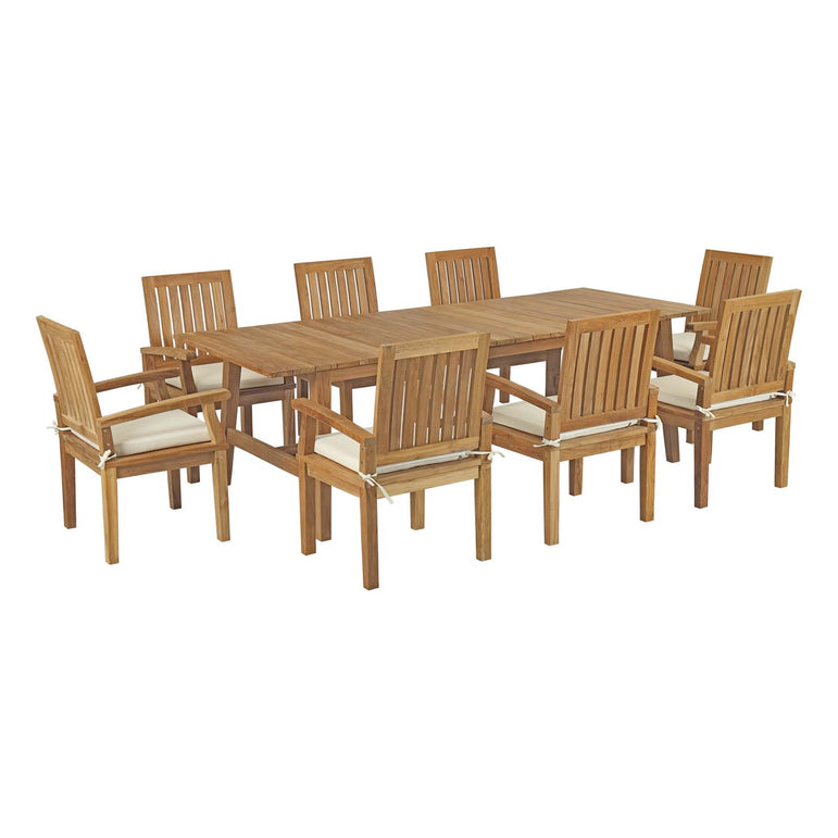 Marina 9 Piece Outdoor Patio Teak Outdoor Dining Set