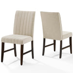 Motivate Channel Tufted Upholstered Fabric Dining Chair Set of 2