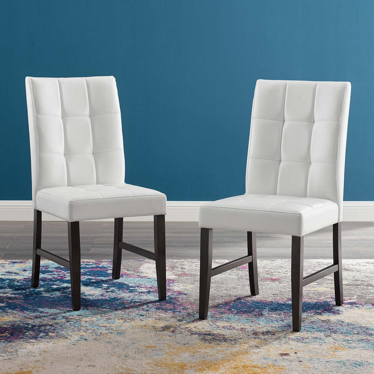 Promulgate Biscuit Tufted Upholstered Faux Leather Dining Side Chair Set of 2