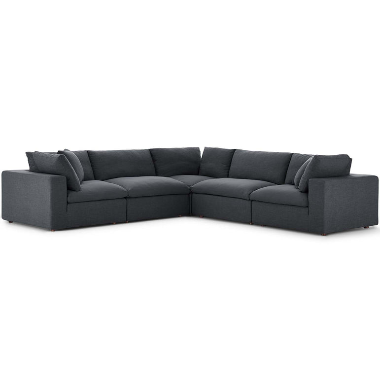 Commix Down Filled Overstuffed 5 Piece Sectional Sofa Set