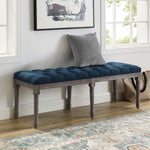 Province French Vintage Upholstered Fabric Bench