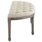 Esteem Vintage French Upholstered Fabric Semi-Circle Bench