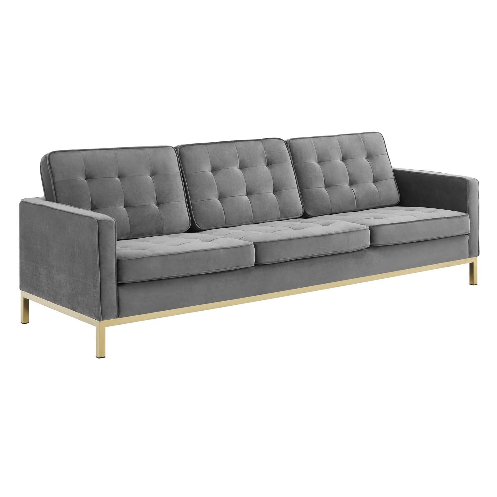 Loft Gold Stainless Steel Leg Performance Velvet Sofa