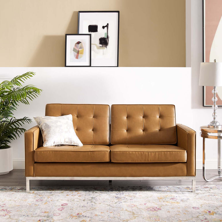 Loft Tufted Upholstered Faux Leather Loveseat