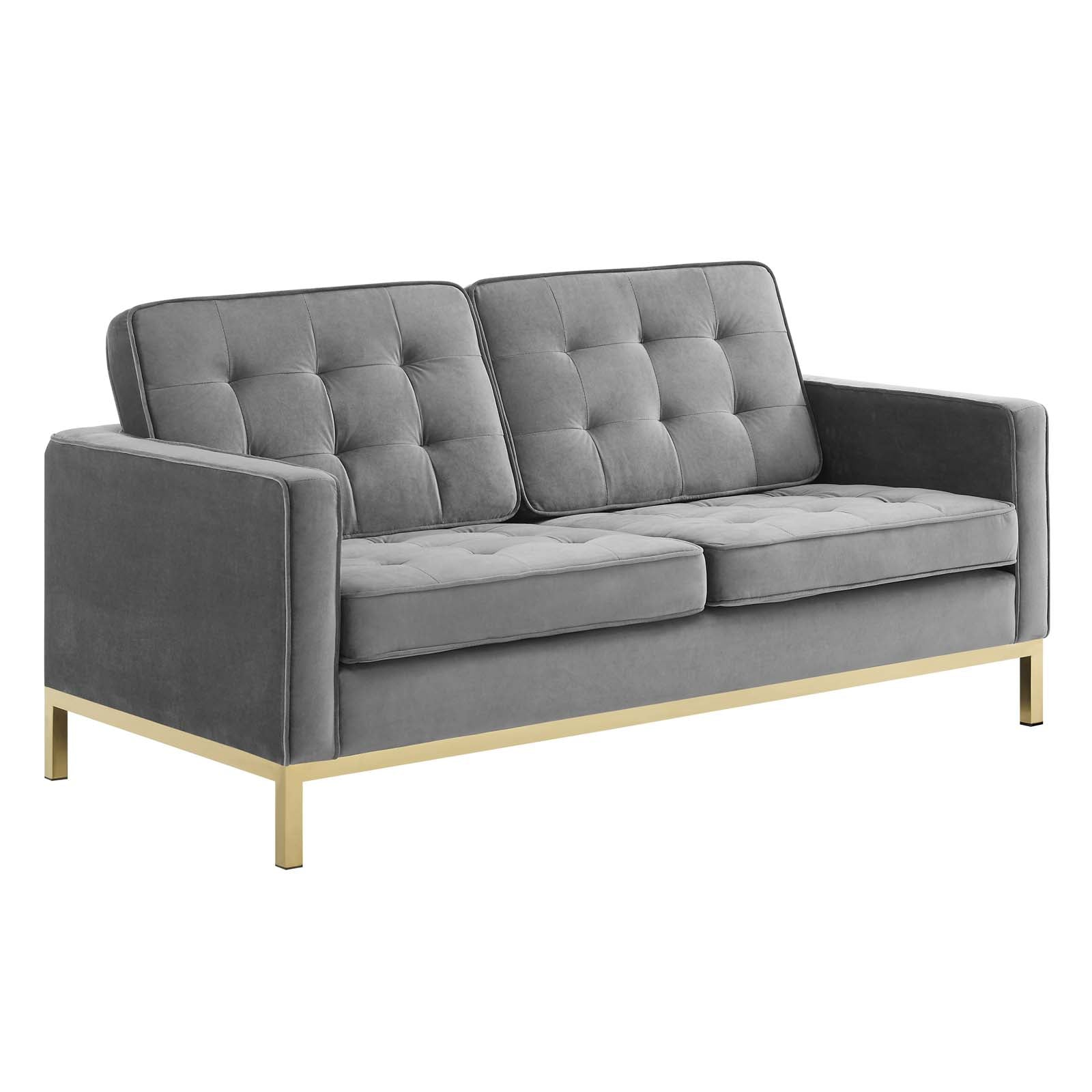 Loft Gold Stainless Steel Leg Performance Velvet Loveseat